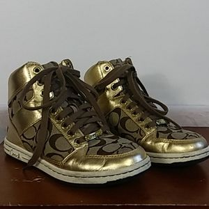 Coach Norra high top gold sneakers